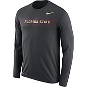 Nike Men's Florida State Seminoles Grey Dri-FIT Legend Long Sleeve Sideline T-Shirt