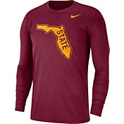 Nike Men's Florida State Seminoles Heathered Garnet Vault Tri-Blend Long Sleeve Tee