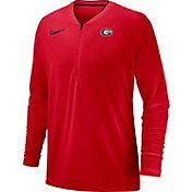 Nike Men's Georgia Bulldogs Red Coach Half-Zip Football Sideline Jacket