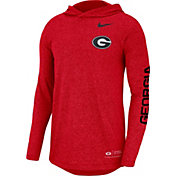 Nike Men's Georgia Bulldogs Red Marled Long Sleeve Hooded Sideline T-Shirt