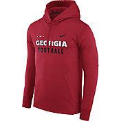 Nike Men's Georgia Bulldogs Red Football Sideline Therma-FIT Hoodie