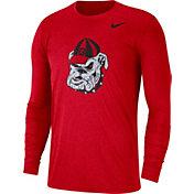 Nike Men's Georgia Bulldogs Heathered Red Vault Tri-Blend Long Sleeve Tee
