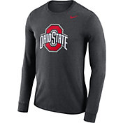 Nike Men's Ohio State Buckeyes Gray Dri-FIT Logo Long Sleeve Shirt