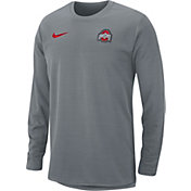 Nike Men's Ohio State Buckeyes Gray Modern Football Sideline Crew Long Sleeve Shirt