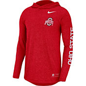Nike Men's Ohio State Buckeyes Scarlet Marled Long Sleeve Hooded Sideline T-Shirt