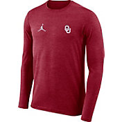 Jordan Men's Oklahoma Sooners Crimson Football Dri-FIT Coach Long Sleeve T-Shirt