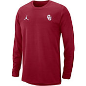 Jordan Men's Oklahoma Sooners Crimson Modern Football Sideline Crew Long Sleeve Shirt