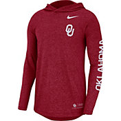 Nike Men's Oklahoma Sooners Crimson Marled Long Sleeve Hooded Sideline T-Shirt
