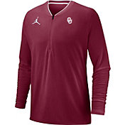 Jordan Men's Oklahoma Sooners Crimson Coach Half-Zip Football Sideline Jacket