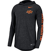 Nike Men's Oklahoma State Cowboys Marled Long Sleeve Hooded Sideline Black T-Shirt