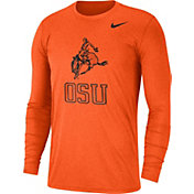 Nike Men's Oklahoma State Cowboys Heathered Vault Tri-Blend Black Long Sleeve Tee