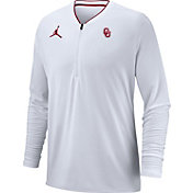 Jordan Men's Oklahoma Sooners Coach Half-Zip Football Sideline White Jacket