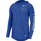 Nike Men's Kentucky Wildcats Blue Marled Long Sleeve Hooded Sideline T-Shirt