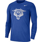 Nike Men's Kentucky Wildcats Heathered Blue Vault Tri-Blend Long Sleeve Tee