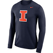 Nike Men's Illinois Fighting Illini Blue Dri-FIT Logo Long Sleeve Shirt