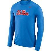 Nike Men's Ole Miss Rebels Blue Dri-FIT Logo Long Sleeve Shirt