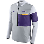 Nike Men's LSU Tigers Grey/Purple Shield Hybrid Football Sideline Jacket