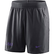 Nike Men's LSU Tigers Anthracite Fly Knit Football Shorts