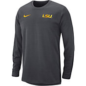 Nike Men's LSU Tigers Anthracite Modern Football Sideline Crew Long Sleeve Shirt