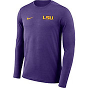 Nike Men's LSU Tigers Purple Football Dri-FIT Coach Long Sleeve T-Shirt