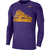 Nike Men's LSU Tigers Heathered Purple Vault Tri-Blend Long Sleeve Tee