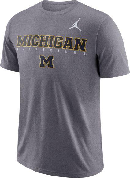 Jordan Men s Michigan Wolverines Grey Football Dri-FIT Facility T-Shirt.  noImageFound a2f34749e
