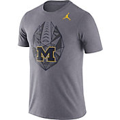 Jordan Men's Michigan Wolverines Grey Dri-FIT Football Icon T-Shirt