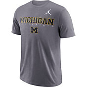 Jordan Men's Michigan Wolverines Grey Football Dri-FIT Facility T-Shirt
