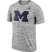 Jordan Men's Michigan Wolverines Charcoal Football Dri-FIT Travel T-Shirt