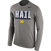 Nike Men's Michigan Wolverines Grey Dri-FIT Franchise Long Sleeve T-Shirt