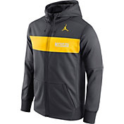 Jordan Men's Michigan Wolverines Anthracite Therma-FIT Full-Zip Sideline Hoodie