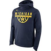 Jordan Men's Michigan Wolverines Blue Basketball Performance Elite Hoodie