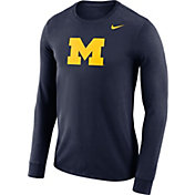 Nike Men's Michigan Wolverines Blue Dri-FIT Logo Long Sleeve Shirt