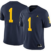 Jordan Men's Michigan Wolverines #1 Blue Limited Football Jersey