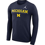 Jordan Men's Michigan Wolverines Blue Football Dri-FIT Facility Long Sleeve T-Shirt