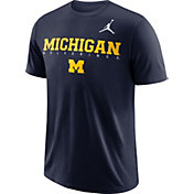 Jordan Men's Michigan Wolverines Blue Football Dri-FIT Facility T-Shirt