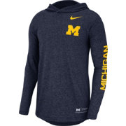 Nike Men's Michigan Wolverines Blue Marled Long Sleeve Hooded Sideline T-Shirt