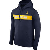 Jordan Men's Michigan Wolverines Blue Therma-FIT Pullover Sideline Hoodie