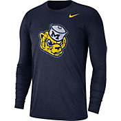 Nike Men's Michigan Wolverines Heathered Blue Vault Tri-Blend Long Sleeve Tee