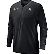 Nike Men's Michigan State Spartans Coach Half-Zip Football Sideline Black Jacket