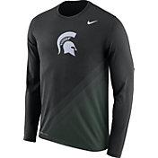 Nike Men's Michigan State Spartans Black/Green Football Sideline Dri-FIT Long Sleeve Shirt