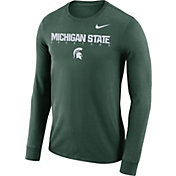 Nike Men's Michigan State Spartans Green Football Dri-FIT Facility Long Sleeve T-Shirt