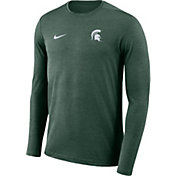 Nike Men's Michigan State Spartans Green Football Dri-FIT Coach Long Sleeve T-Shirt