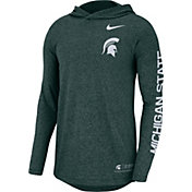 Nike Men's Michigan State Spartans Green Marled Long Sleeve Hooded Sideline T-Shirt