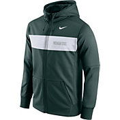 Nike Men's Michigan State Spartans Green Therma-FIT Full-Zip Sideline Hoodie