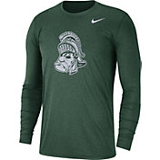Nike Men's Michigan State Spartans Heathered Green Vault Tri-Blend Long Sleeve Tee