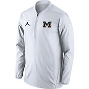 Jordan Men's Michigan Wolverines White Lockdown Sideline Half-Zip Jacket