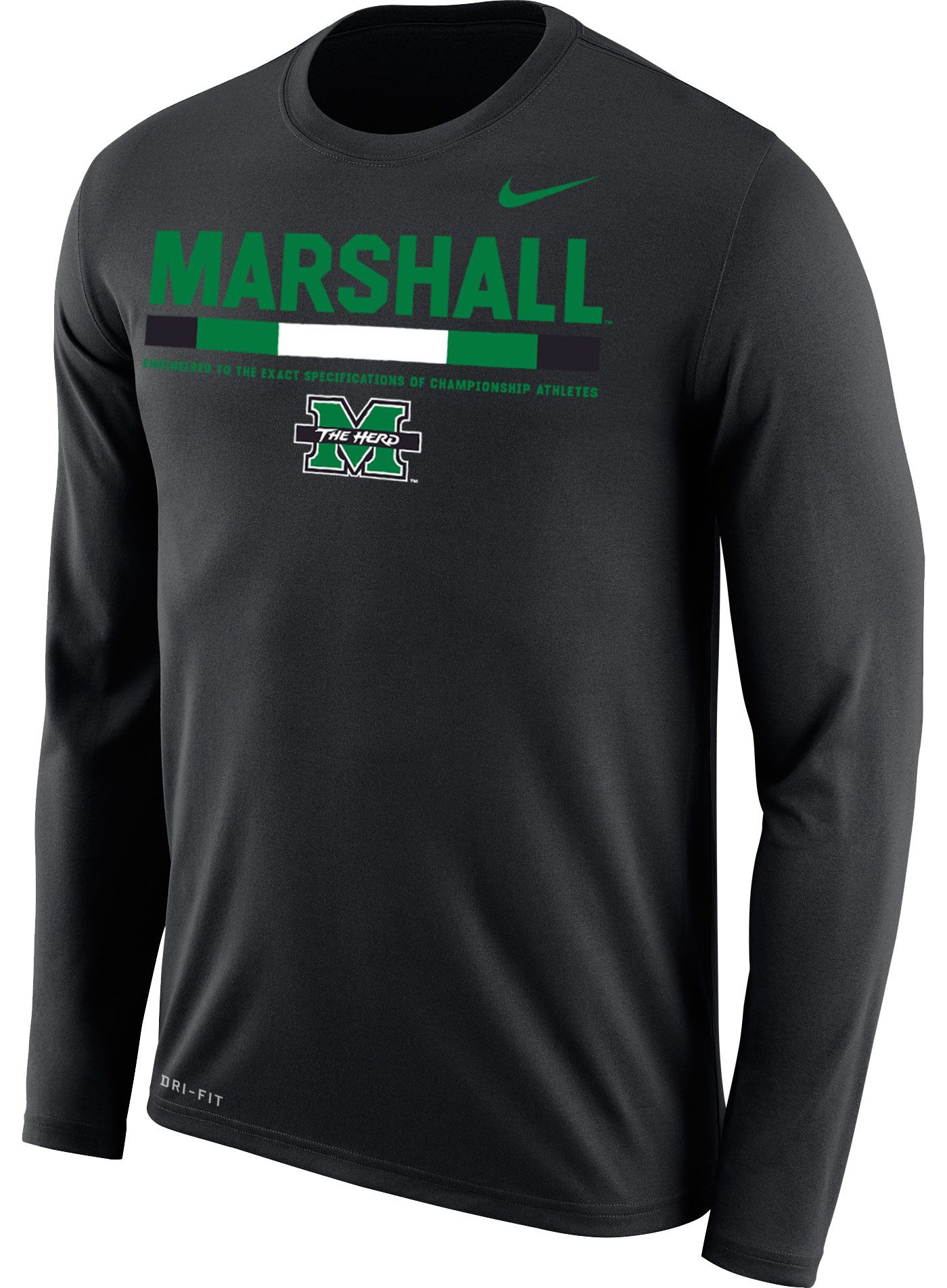Nike Men's Marshall Thundering Herd Football Sideline Staff Legend Black Long Sleeve Shirt