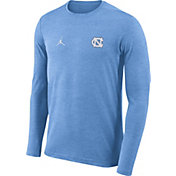 Jordan Men's North Carolina Tar Heels Carolina Blue Football Dri-FIT Coach Long Sleeve T-Shirt