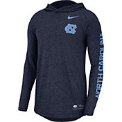 Nike Men's North Carolina Tar Heels Carolina Blue Marled Long Sleeve Hooded Sideline T-Shirt